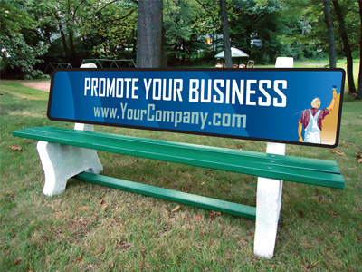 Image result for park bench advertising